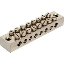 PICTURE OF 8WAY BRASS EARTH BLOCK NICKEL PLATED