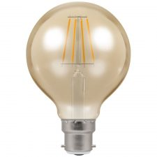 PICTURE OF LED GLOBE G80 FILAMENT ANTIQUE DIMMABLE 5W 2200K BC B22d LAMP